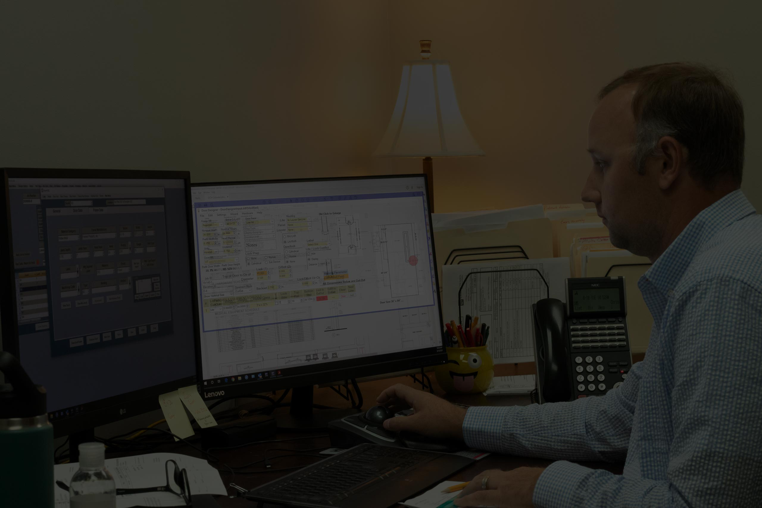 background showing software for hardware at work at one of our distributors